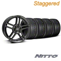 Staggered Matte Black 2010 Style GT500 Wheel & NITTO INVO Tire Kit - 19x8.5/10 (05-14 All) - AmericanMuscle Wheels KIT||99270||99271||79520||79521
