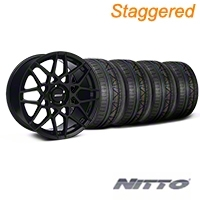 Staggered Gloss Black 2013 GT500 Style Wheel & NITTO INVO Tire Kit - 19x8.5/10 (05-14 GT, V6)