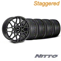 Staggered Charcoal 2013 GT500 Style Wheel & NITTO INVO Tire Kit - 19x8.5/10 (05-14 GT, V6)