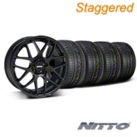 Staggered Black AMR Style Wheel & NITTO INVO Tire Kit - 19x8.5/10 (05-14 All) - AmericanMuscle Wheels KITT|33783||33784||79520||79521