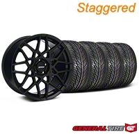Staggered Gloss Black 2013 GT500 Style Wheel & General Tire Kit - 19x8.5/10 (05-14 GT, V6)