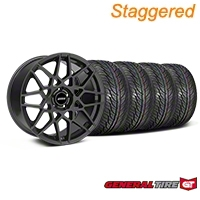 Staggered Charcoal 2013 GT500 Style Wheel & General Tire Kit - 19x8.5/10 (05-14 GT, V6)