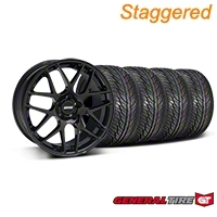 Staggered AMR Black Wheel & General Tire Kit - 19x8.5/10 (05-14 All) - American Muscle Wheels 33783||33784||63106||63107||KIT