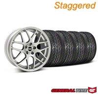 Staggered Silver AMR Style Wheel & General Tire Kit - 19x8.5/10 (05-14) - AmericanMuscle Wheels KIT||33803||33806||63106||63107