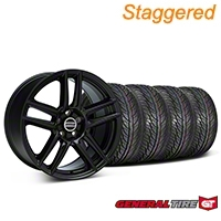 Staggered Boss Laguna Seca Black Wheel & General Tire Kit - 19x9/10 (05-14 All) - American Muscle Wheels 63106||63107||99222||99223||KIT