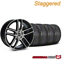 Staggered Black Machined Boss Laguna Style Wheel & General Tire Kit - 19x9/10 (05-14 All) - AmericanMuscle Wheels KIT||99224||99225||63106||63107