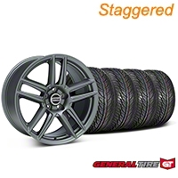 Staggered Boss Laguna Seca Charcoal Wheel & General Tire Kit - 19x9/10 (05-14 All) - American Muscle Wheels 63106||63107||99220||99221||KIT
