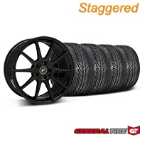 Staggered Piano Black Forgestar CF10 Monoblock Wheel & General Tire Kit - 19x9/10 (05-14 All) - Forgestar KIT||29844||29845||63106||63107
