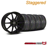 Forgestar Staggered CF10 Monoblock Textured Black Wheel & General Tire Kit - 19x9/10 (05-14 All) - Forgestar 26846||29847||63106||63107||KIT