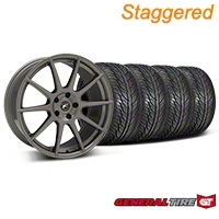 Staggered Gunmetal Forgestar CF10 Monoblock Wheel & General Tire Kit - 19x9/10 (05-14 All) - Forgestar KIT||29848||29849||63106||63107