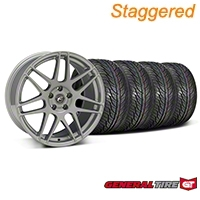 Forgestar Staggered F14 Monoblock Silver Wheel & General Tire Kit - 19x9/10 (05-14 All) - Forgestar 29850||29851||63106||63107||KIT
