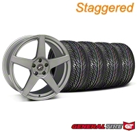 Forgestar Staggered CF5 Monoblock Silver Wheel & General Tire Kit - 19x9/10 (05-14 All) - Forgestar 29852||29853||63106||63107||KIT