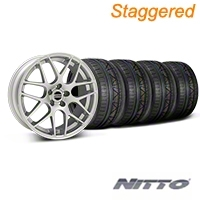 Staggered AMR Silver Wheel & NITTO INVO Tire Kit - 19x8.5/10 (05-14 All) - American Muscle Wheels 33803||33806||76521||79520||KIT