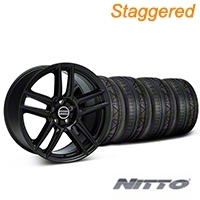Staggered Laguna Seca Style Black Wheel & NITTO INVO Tire Kit - 19x9/10 (05-14 All) - American Muscle Wheels 79520||79521||99222||99223||KIT