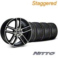Staggered Black Machined Boss Laguna Style Wheel & NITTO INVO Tire Kit - 19x9/10 (05-14 All) - AmericanMuscle Wheels KIT||79520||79521||99224||99225