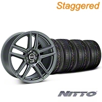 Staggered Laguna Seca Style Charcoal Wheel & NITTO INVO Tire Kit - 19x9/10 (05-14 All) - American Muscle Wheels 79520||79521||99220||99221||KIT