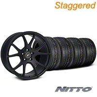 Staggered Matte Black Forgestar CF5V Monoblock Wheel & NITTO INVO Tire Kit - 19x9/10 (05-14 All)