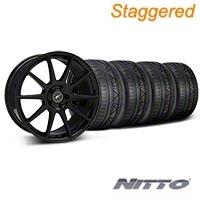 Forgestar Staggered CF10 Monoblock Piano Black Wheel & NITTO INVO Tire Kit - 19x9/10 (05-14 All) - Forgestar 29844||29845||79520||79521||KIT