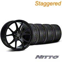 Forgestar Staggered CF5V Monoblock Piano Black Wheel & NITTO INVO Tire Kit - 19x9/10 (05-14 All) - Forgestar KIT||mb1||79520||29855||29854||79521