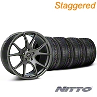 Forgestar Staggered CF5V Monoblock Gunmetal Wheel & NITTO INVO Tire Kit - 19x9/10 (05-14 All) - Forgestar KIT||79521||29858||29859||mb1||79520