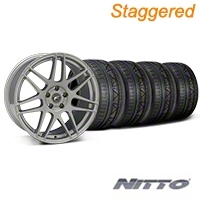 Forgestar Staggered F14 Monoblock Silver Wheel & NITTO INVO Tire Kit - 19x9/10 (05-14 All) - Forgestar 29850||29851||79520||79521||KIT