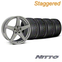 Staggered Silver Forgestar CF5 Monoblock Wheel & NITTO INVO Tire Kit - 19x9/10 (05-14 All) - Forgestar KIT||29852||29853||79520||79521