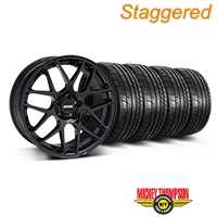 Staggered AMR Black Wheel & Mickey Thompson Tire Kit - 20x8.5/10 (05-14 All) - American Muscle Wheels 79541||79542||99363||99364||KIT