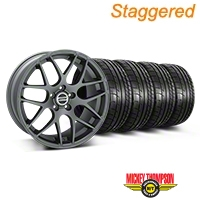 Staggered AMR Charcoal Wheel & Mickey Thompson Tire Kit - 20x8.5/10 (05-14 All) - American Muscle Wheels 79541||79542||99365||99366||KIT