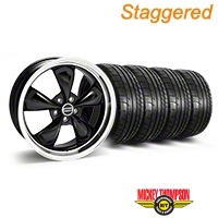 Staggered Deep Dish Bullitt Black Wheel & Mickey Thompson Tire Kit - 20x8.5/10 (05-14 V6; 05-10 GT) - American Muscle Wheels KIT