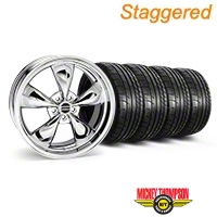 Staggered Deep Dish Bullitt Chrome Wheel & Mickey Thompson Tire Kit - 20x8.5/10 (05-14 V6; 05-10 GT) - American Muscle Wheels KIT