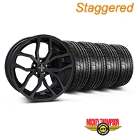 Foose Staggered Outcast Matte Black Wheel & Mickey Thompson Tire Kit - 20x8.5/10 (05-14 All) - Foose 32839||32840||79541||79542||KIT