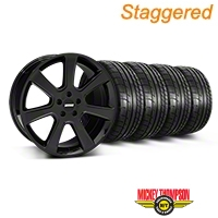 Staggered S197 Saleen Black Wheel & Mickey Thompson Tire Kit - 20x9/10 (05-14 All) - American Muscle Wheels 28363||28366||79541||79542||KIT