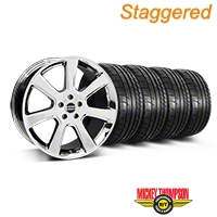Staggered S197 Saleen Chrome Wheel & Mickey Thompson Tire Kit - 20x9/10 (05-14 All) - American Muscle Wheels 28361||28364||79541||79542||KIT