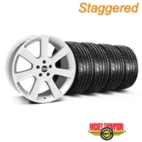 Staggered S197 Saleen Silver Wheel & Mickey Thompson Tire Kit - 20x9/10 (05-14 All) - American Muscle Wheels 28362||28365||79541||79542||KIT