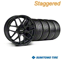 Staggered AMR Black Wheel & Sumitomo Tire Kit - 20x8.5/10 (05-14 All) - American Muscle Wheels KIT