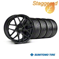 Staggered AMR Black Wheel & Sumitomo Tire Kit - 20x8.5/10 (05-14 All) - American Muscle Wheels 63024||63025||99363||99364||KIT