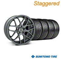 Staggered Charcoal AMR Wheel & Sumitomo Tire Kit - 20x8.5/10 (05-14 All) - AmericanMuscle Wheels KIT||99365||99366||63024||63025