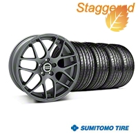 Staggered AMR Charcoal Wheel & Sumitomo Tire Kit - 20x8.5/10 (05-14 All) - American Muscle Wheels 63024||63025||99365||99366||KIT