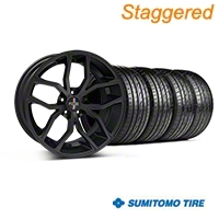 Foose Staggered Outcast Matte Black Wheel & Sumitomo Tire Kit - 20x8.5/10 (05-14 All) - Foose 32839||32840||63024||63025||KIT
