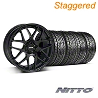 Staggered AMR Black Wheel & NITTO Tire Kit - 20x8.5/10 (05-14 All) - American Muscle Wheels KIT
