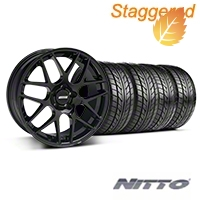 Staggered AMR Black Wheel & NITTO Tire Kit - 20x8.5/10 (05-14 All) - American Muscle Wheels 76005||76006||99363||99364||KIT