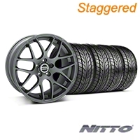 Staggered AMR Charcoal Wheel & NITTO Tire Kit - 20x8.5/10 (05-14) - American Muscle Wheels KIT