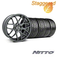 Staggered AMR Charcoal Wheel & NITTO Tire Kit - 20x8.5/10 (05-14) - American Muscle Wheels 76005||76006||99365||99366||KIT
