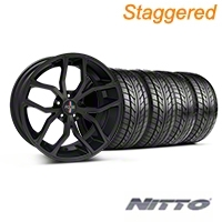Foose Staggered Outcast Matte Black Wheel & NITTO Tire Kit - 20x8.5/10 (05-14) - Foose 32839||32840||76005||76006||KIT