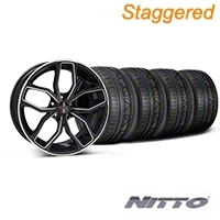 Staggered Black Machined Foose Outcast Wheel & NITTO Tire Kit - 20x8.5/10 (05-14) - Foose KIT||32841||32842||76005||76006