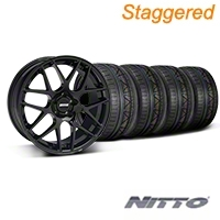 Staggered AMR Black Wheel & NITTO INVO Tire Kit - 20x8.5/10 (05-14 All) - American Muscle Wheels KIT