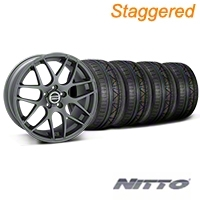 Staggered AMR Charcoal Wheel & NITTO INVO Tire Kit - 20x8.5/10 (05-14 All) - American Muscle Wheels 79524||79525||99365||99366||KIT