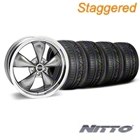 Staggered Deep Dish Bullitt Anthracite Wheel & NITTO INVO Tire Kit - 20x8.5/10 (05-14 V6; 05-10 GT) - American Muscle Wheels 28035||28049||79524||79525||KIT