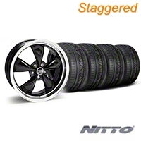 Staggered Deep Dish Bullitt Black Wheel & NITTO INVO Tire Kit - 20x8.5/10 (05-14 V6; 05-10 GT) - American Muscle Wheels 28036||28047||79524||79525||KIT