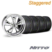 Staggered Deep Dish Bullitt Chrome Wheel & NITTO INVO Tire Kit - 20x8.5/10 (05-10 GT, V6) - American Muscle Wheels 28037||28048||79524||79525||KIT